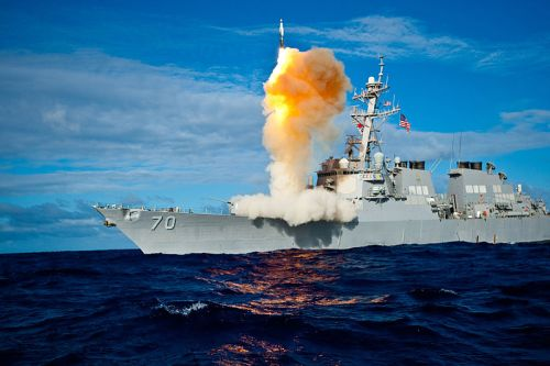 The USS Hopper launches a Standard Missile-3.
