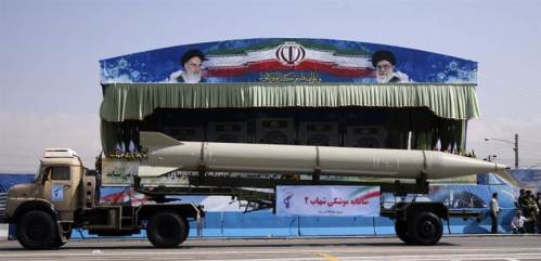 An Iranian Shehab-2 missile on parade (Reuters).